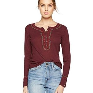 Lucky Brand Maroon Thermal long sleeve embroidered